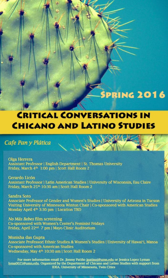 Critical Conversations in Chicano and Latino Studies Spring 2016